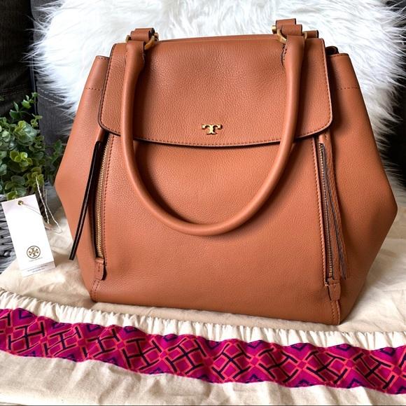 Tory Burch Handbags - Tory Burch Half Moon Tan Expandable Leather Tote